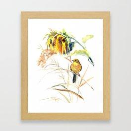 Yellow Bird and Sunflowers, Yellowhammer Framed Art Print