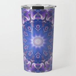 Deep Blue and Purple Fractal Mandala Travel Mug