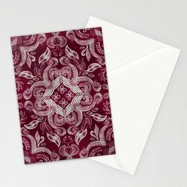Dark cherry red dirty denim textured boho pattern Stationery Cards