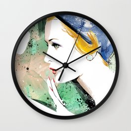 Portrait a lady with blue hat, Fashion Painting, Fashion IIlustration, Vogue Portrait, #19 Wall Clock