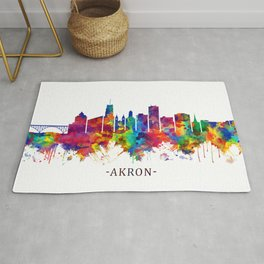Akron Ohio Skyline Rug