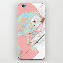 Abstract Blush Geometric Peonies Flowers Design iPhone Skin