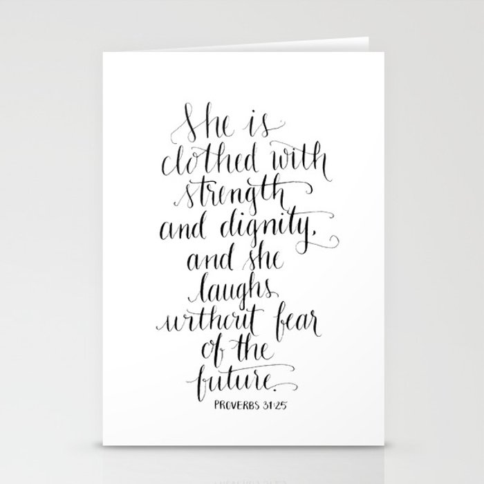 Clothed with Strength and Dignity - Proverbs 31:25 Stationery Cards