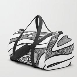 Black Waves Linework Duffle Bag