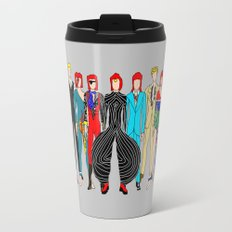Outfits of Bowie Fashion on White Travel Mug