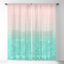 Dragonfly, Pink and Green Blush Sheer Curtain