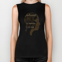 Introverts Unite Gift for Introverts, Nerds or  Lone Wolfs Biker Tank