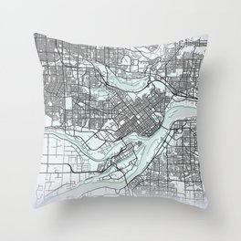 Burnaby, BC, Canada, White, City, Map Throw Pillow