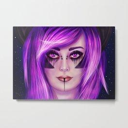 Gothic Bat Girl Metal Print