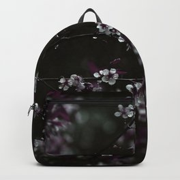 Dark Purple Leaves and White Cherry Blossoms on Black Backpack