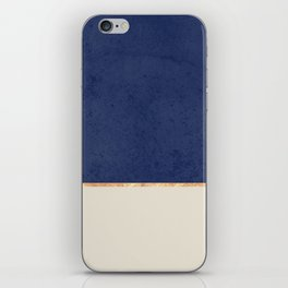 Navy Blue Gold Greige Nude iPhone Skin
