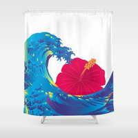hokusai Shower Curtains featuring Hokusai Rainbow & Hibiscus_R  by FACTORIE