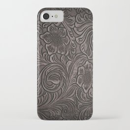 Distressed Smoky Tooled Leather iPhone Case