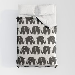Cute black and white hand drawn watercolor elephant Comforters