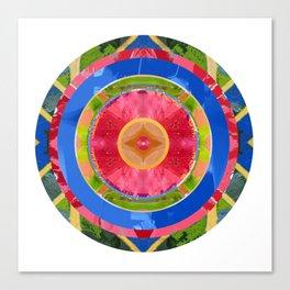 Pink, Blue and Green Mandala Canvas Print