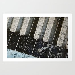 Piano Keys black and white - music notes Art Print