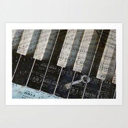 Piano Keys black and white - music notes Art Print