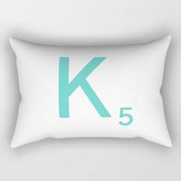 Custom Scrabble Wall Art Blue Letter K Rectangular Pillow