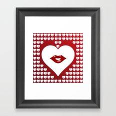 Loving Hearts and Lips Framed Art Print