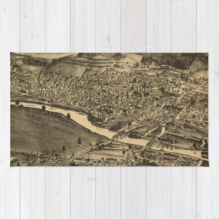 Vintage Map of Corning New York (1882) Rug