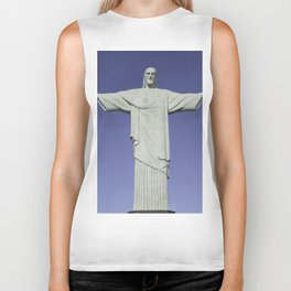 Detailed closeup of the Christ the Redeemer statue in Brazil Biker Tank