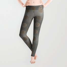 Lace Coin Polka Dots Pattern with Silver Leaf Background Leggings