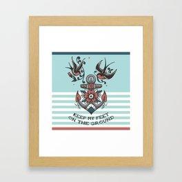 Anchor with birds - Keep my feet on the ground Framed Art Print