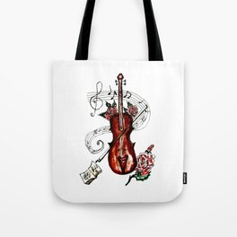 Brown Violin with Notes Tote Bag