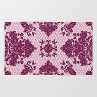 monty python Area & Throw Rugs featuring Python Lace Fantasy in Pink by Octavia Soldani