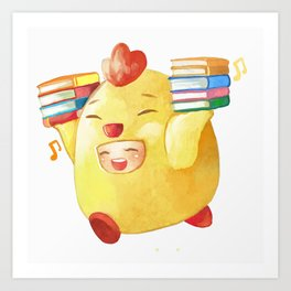 Cute Chicken With Books Art Print