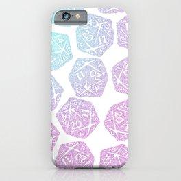 d20 pattern dice gradient pastel - icosahedron iPhone Case
