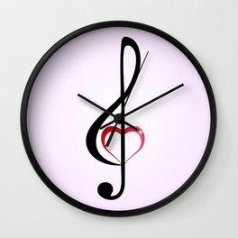 Heart music clef Wall Clock