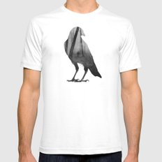 Crow (black & white version) White Mens Fitted Tee MEDIUM