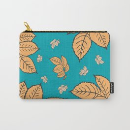 HAPPY LEAVES ON TURQUOISE (abstract tropical flowers) Carry-All Pouch