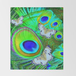 GREEN PEACOCK FEATHERS  & WHITE BUTTERFLIES FANTASY ART Throw Blanket