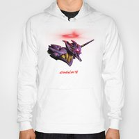 evangelion Hoodies featuring Evangelion Unit 01 - Rebuild of Evangelion 3.0 Movie Poster by Barrett Biggers