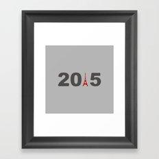 2015-Paris in Gray & Red Framed Art Print