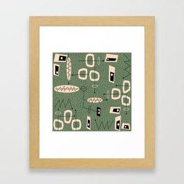 Mid-Century Atomic Green Abstract Framed Art Print