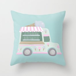 Ice Cream Truck Throw Pillow