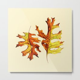 Ink And Watercolor Painted Dancing Autumn Leaves Metal Print