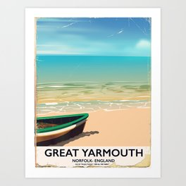 Great Yarmouth, Norfolk, Seaside travel poster Art Print