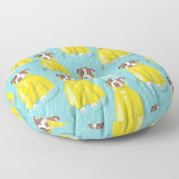 pit bull in rain coat Floor Pillow