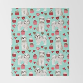 Shih Tzu valentines day pattern for dog lover with cute shih tzu puppy love by pet friendly Throw Blanket