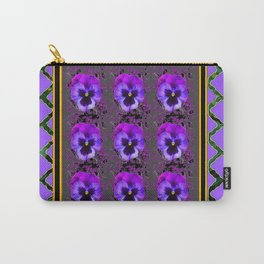 GARDEN OF PURPLE PANSY FLOWERS BLACK & TEAL PATTERNS Carry-All Pouch