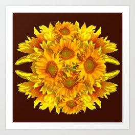 YELLOW SUNFLOWERS CHOCOLATE GARDEN ART Art Print