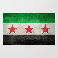 "islam Area & Throw Rugs featuring The Syrian ""independence flag""  retro style version by Bruce Stanfield"