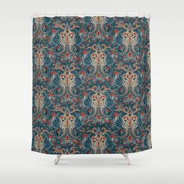 Paisley Medallion in blue and gold Shower Curtain
