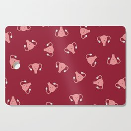 Crazy Happy Uterus in Red, Large Cutting Board