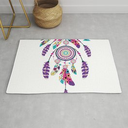 Colorful dream catcher on arrow Rug