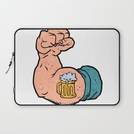 arm flexed with beer tattoo Laptop Sleeve